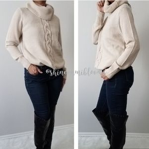 CAbi Sweater  Knitt Tan Large